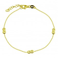 Wholesale 925 Sterling Silver Adjustable Single Strand Gold Plated Bracelet with 3 Infinity Element - VGB22GP