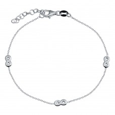 Wholesale 925 Sterling Silver Adjustable Single Strand Rhodium Plated Bracelet with 3 Infinity Element - VGB22RH