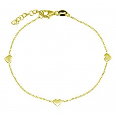 Wholesale 925 Sterling Silver Adjustable Single Strand Gold Plated Bracelet with 3 Hearts Element - VGB23GP