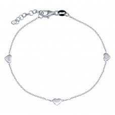 Wholesale 925 Sterling Silver Adjustable Single Strand Rhodium Plated Bracelet with 3 Hearts Element - VGB23RH