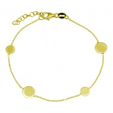 Wholesale 925 Sterling Silver Adjustable Single Strand Gold Plated Bracelet with 4 Disc - VGB24GP