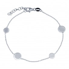 Wholesale 925 Sterling Silver Adjustable Single Strand Rhodium Plated Bracelet with 4 Disc - VGB24RH