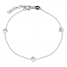 Wholesale 925 Sterling Silver Adjustable Single Strand Rhodium Plated Bracelet with 3 Star Element - VGB26RH
