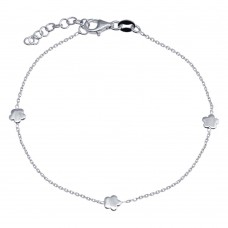 Wholesale 925 Sterling Silver Adjustable Single Strand Rhodium Plated Bracelet with 3 Star Element - VGB27RH