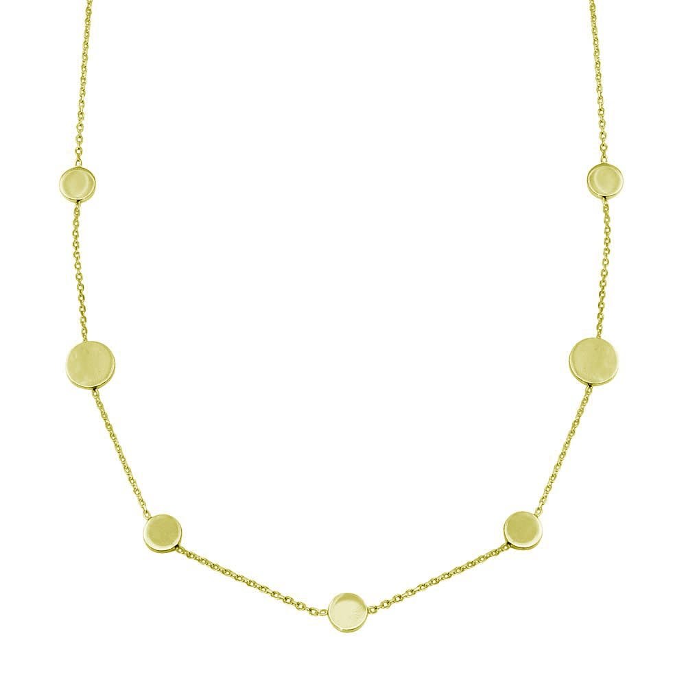 Wholesale 925 7 Disc Sterling Silver Gold Plated Necklace - VGC16GP