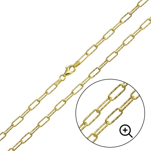 Wholesale Sterling Silver 925 Gold Plated Diamond Cut Paperclip Link Chain 3.2mm - VGC20 GP