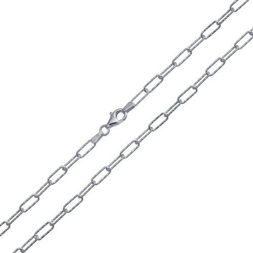 Wholesale Sterling Silver 925 Rhodium Plated Diamond Cut Paperclip Link Chain 3.2mm - VGC21 RH