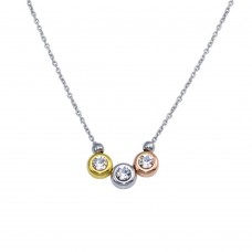 Wholesale Sterling Silver 925 Tri-Color Plated Trio CZ Necklace -  VGC23