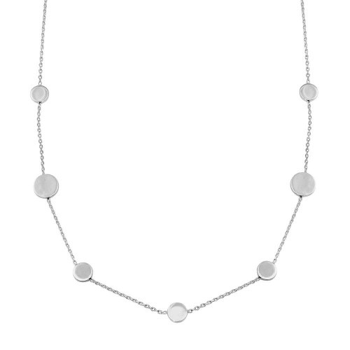 Wholesale 925 7 Disc Sterling Silver Rhodium Plated Necklace - VGC16RH