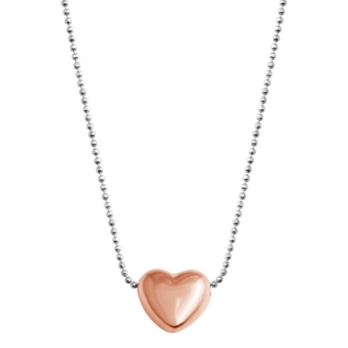 Wholesale 925 Sterling Silver Rhodium Plated Sliding Rose Gold Plated Heart - VGC17RGP