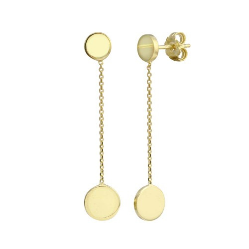 Wholesale Sterling Silver 925 Gold Plated 2 Disc Connected with Chain Earrings - VGE1GP