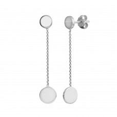 Wholesale Sterling Silver 925 Rhodium Plated 2 Disc Connected with Chain Earrings - VGE1RH