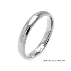 Wholesale Sterling Silver 925 Plain Wedding Band Round Ring - RING01-2MM