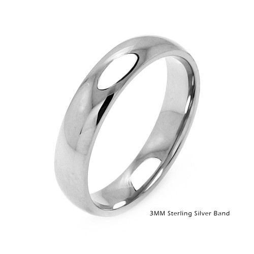 Wholesale Sterling Silver 925 Plain Wedding Band Round Ring - RING01-3MM