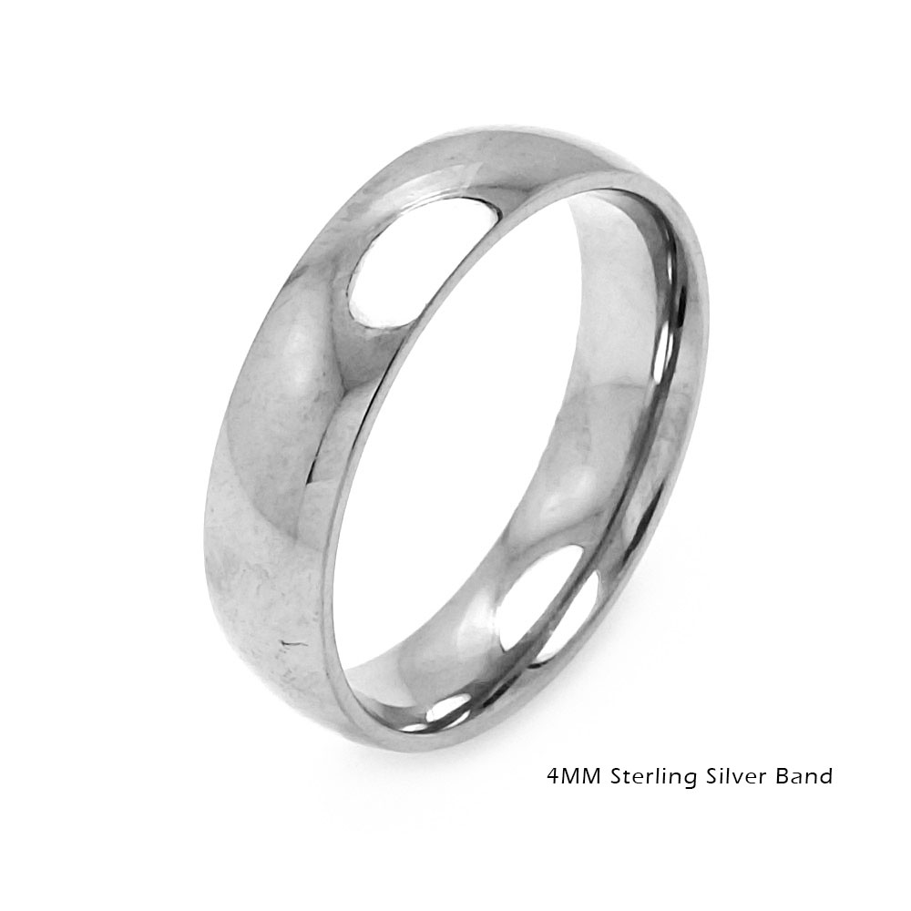 Wholesale Sterling Silver 925 Plain Wedding Band Round Ring - RING01-4MM