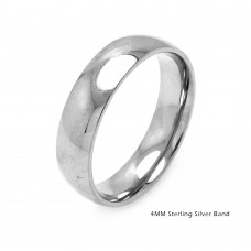 Silver Plain Wedding Band Round Ring - RING01-4MM