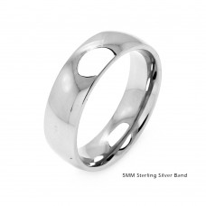 Silver Plain Wedding Band Round Ring - RING01-5MM