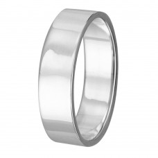 Silver Plain Wedding Band Flat Ring - RING02-4MM