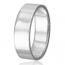 Silver Plain Wedding Band Flat Ring - RING02-6MM