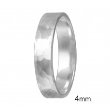 Silver Hand Hammered Wedding Band Flat Ring - RING03-4MM