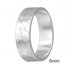 Silver Hand Hammered Wedding Band Flat Ring - RING03-6MM