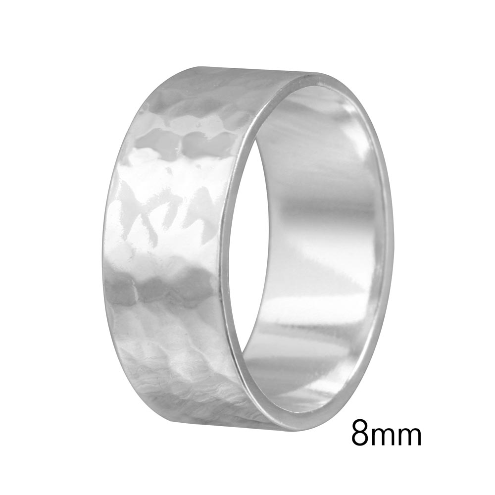Wholesale Sterling Silver 925 Hand Hammered Wedding Band Flat Ring - RING03-8MM