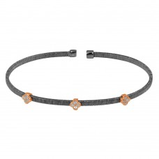 Wholesale Sterling Silver 925 Black Rhodium Plated Three Clover Rose Gold Plated Bangle with CZ - ARB00009BLK