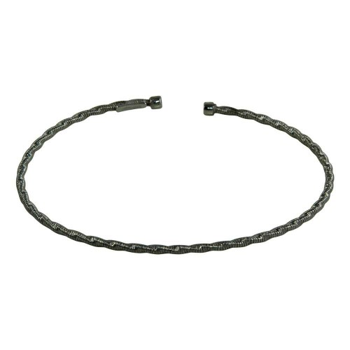 Wholesale Sterling Silver 925 Black Rhodium Plated Twisted Thin Rope Bangles - ARB00034BLK