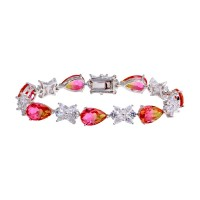 Wholesale Sterling Silver 925 Rhodium Plated Orange Pink Teardrop Tennis Bracelet - BGB00329