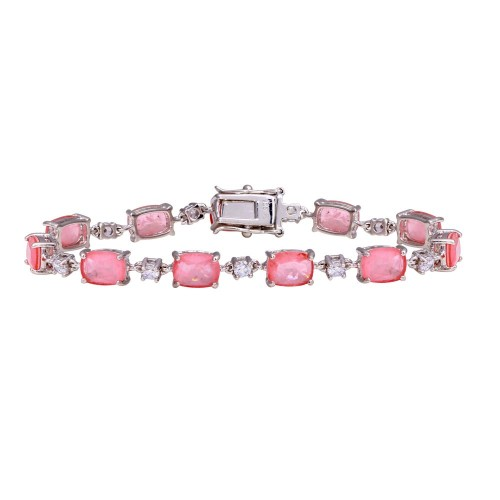 Wholesale Sterling Silver 925 Rhodium Plated Pink and Clear CZ Tennis Bracelet - BGB00330