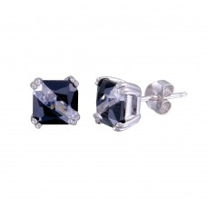 Wholesale Sterling Silver 925 Rhodium Plated 2 Toned Square CZ Stud Earrings - BGE00621