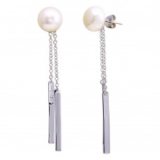 Wholesale Sterling Silver 925 Rhodium Plated Fresh Water Pearl Bar Dangling Earrings - BGE00625