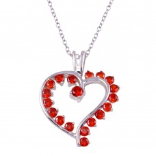 Wholesale Sterling Silver 925 Rhodium Plated Multi Red CZ Open Heart Necklace - BGP01318