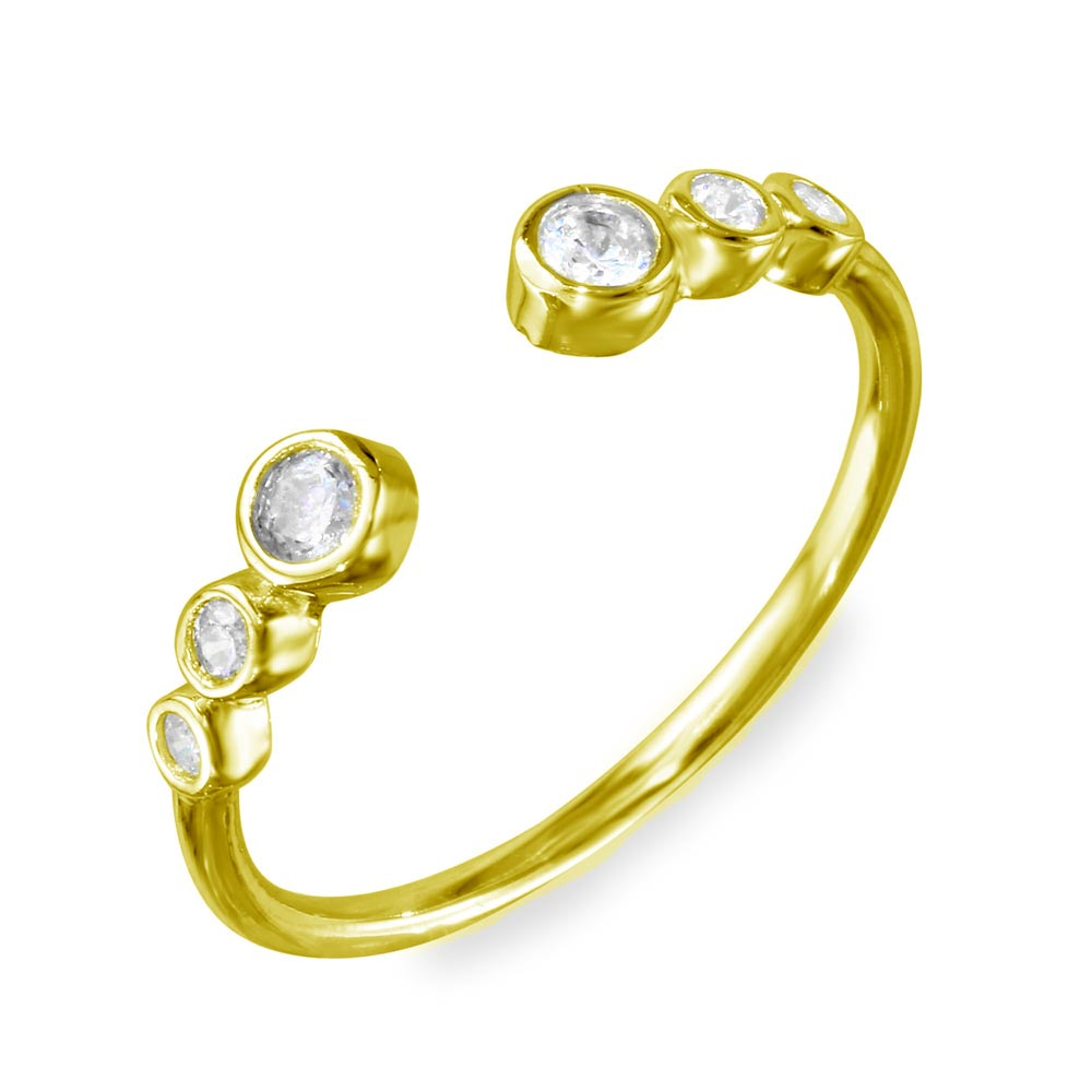 Wholesale Sterling Silver 925 Gold Plated Open Ring with 3 Graduated Round CZ - BGR01102GP