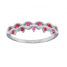 Wholesale Sterling Silver 925 Rhodium Plated Wavy Ring with Red CZ - BGR01239RED