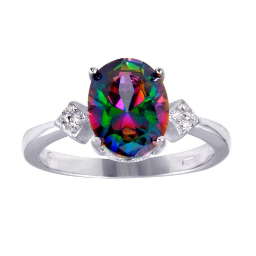 Wholesale Sterling Silver 925 Rhodium Plated Oval Mystic Topaz CZ Ring - BGR01251