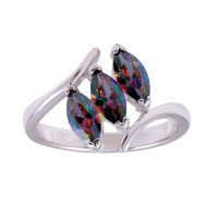 Wholesale Sterling Silver 925 Rhodium Plated 3 Oval Mystic Topaz CZ Ring - BGR01260