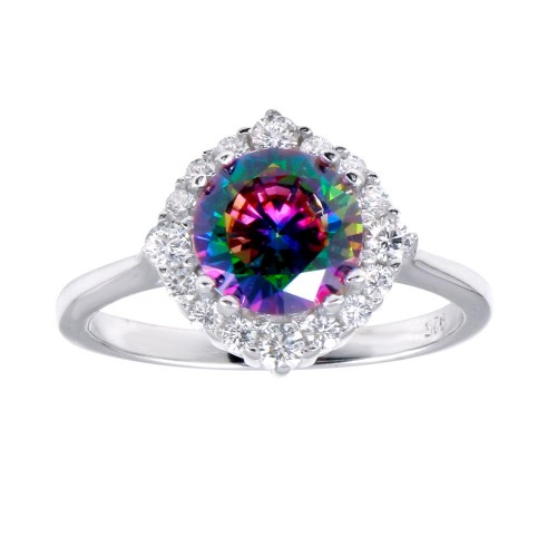 Wholesale Sterling Silver 925 Rhodium Plated Round Halo Mystic Topaz CZ Ring - BGR01263