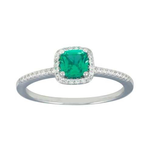 Wholesale Sterling Silver 925 Rhodium Plated Square Halo Turquoise CZ Bridal Ring - BGR01238