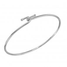Wholesale Sterling Silver 925 Rhodium Plated Hook Bangle - DIB00004RH