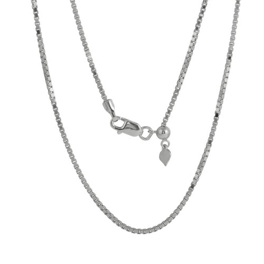 Wholesale Sterling Silver 925 Rhodium Plated Adjustable Box Slider Chain with Hanging Heart - DIN00086RH