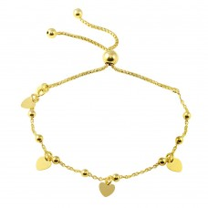 Wholesale Sterling Silver 925 Gold Plated Box Chain Multi Heart and Bead Lariat Bracelet - ECB00127GP