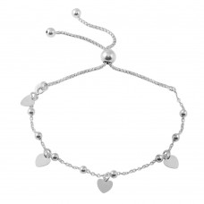 Wholesale Sterling Silver 925 Rhodium Plated Box Chain Multi Heart and Bead Lariat Bracelet - ECB00127RH