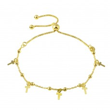 Wholesale Sterling Silver 925 Gold Plated Box Chain Bead and Cross Lariat Bracelet - ECB00128GP