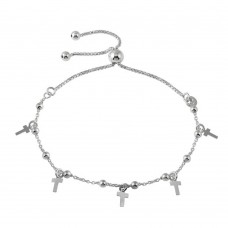 Wholesale Sterling Silver 925 Rhodium Plated Box Chain Bead and Cross Lariat Bracelet - ECB00128RH