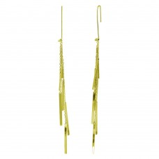 Wholesale Sterling Silver 925 Gold Plated Dangling Chain Bars Earrings - ECE00036GP