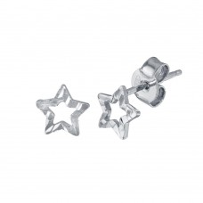 Wholesale Sterling Silver 925 Rhodium Plated Open DC Star Earrings - ECE00039RH