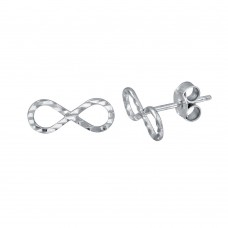 Wholesale Sterling Silver 925 Rhodium Plated DC Infinity Earrings - ECE00042RH
