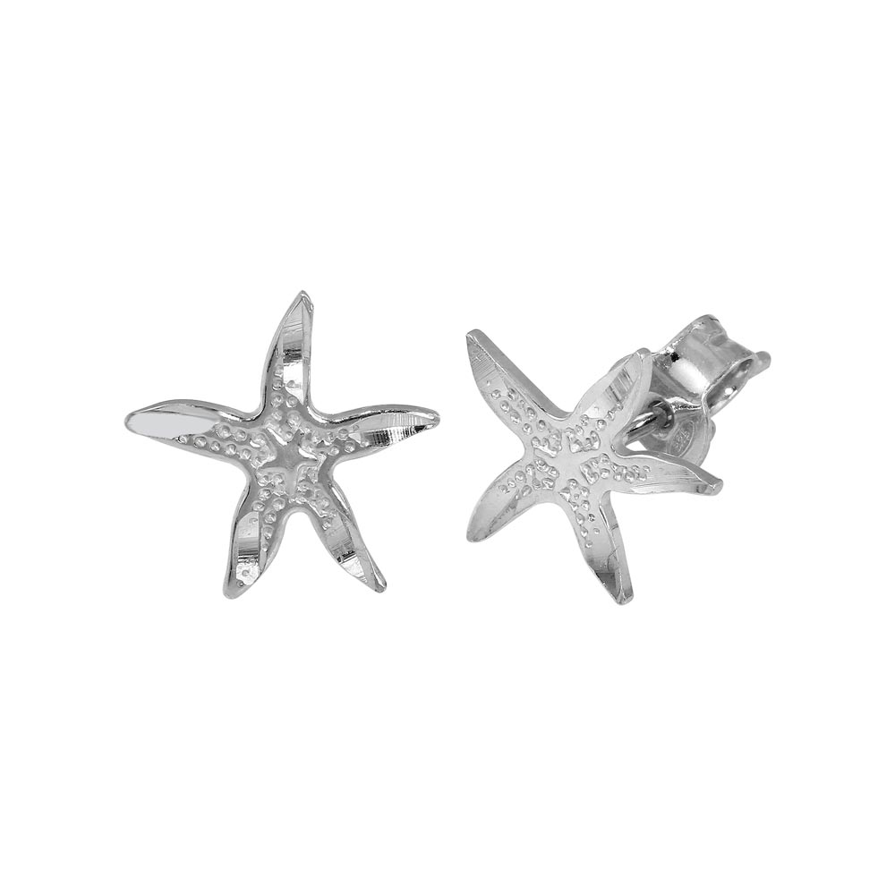925 Sterling Silver Rhodium-plated Starfish Post Earrings