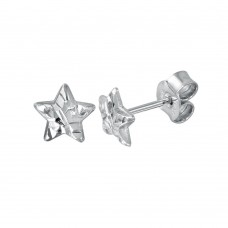 Wholesale Sterling Silver 925 Rhodium Plated DC Star Earrings - ECE00047RH